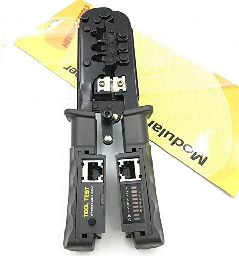 シンプルで耐久性のある 3圧着8P6P4Pトリミング圧着ペンチネットワークとクランプネットワークと多機能テスター (Color : Black)