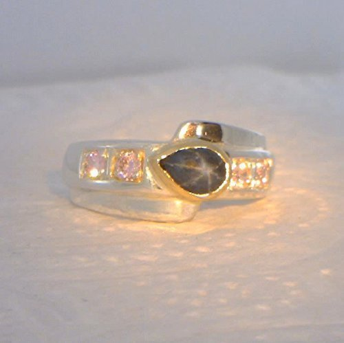 Star Sapphire Pink Tourmaline Handmade Silver and 18K Gold Unisex Ring size 7.75 (Sapphire Star Pink Ring)