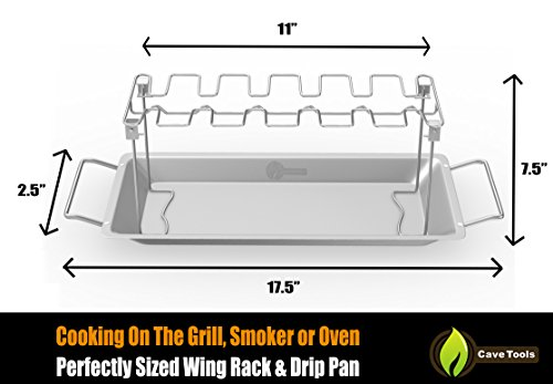 Cave Tools Chicken Wing & Leg Rack For Grill Smoker or Oven - Stainless Steel Vertical Roaster Stand & Drip Pan For Cooking Vegetables In BBQ Juices - Dishwasher Safe Barbecue Accessories by