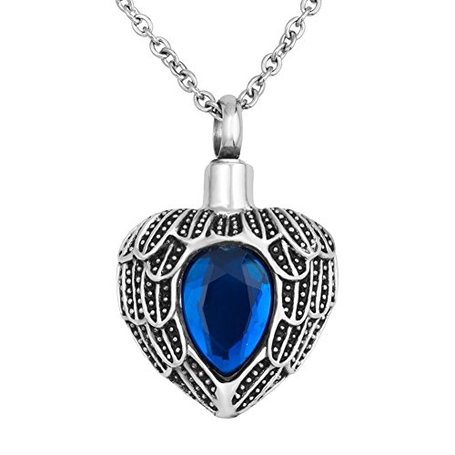 (JewelryJo Urn Necklace for Ashes Cremation Keepsake Birthstone Style Angel Wings Love Heart Pendant SEP.)