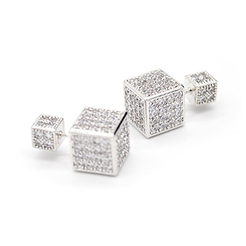 Silverstro Jewelry Handmade Crystal Magic Cube Earrings Monaco Style Stud Ear Drops with Filigree Dazzle Platinum Plated Silver for Ball Valentines-day Anniversary Parties