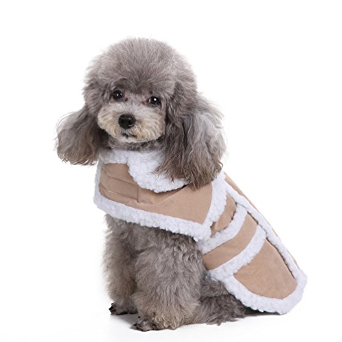 SMALLLEE_LUCKY_STORE XCW0045-beige-M Shearling Suede Small Cat/Dog Fleece-Lined Vest Coat, Beige, Medium