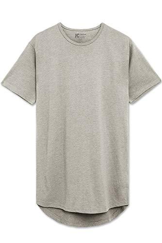 (Grey Melange Drop Cut Curved Hem Scallop Extra Long Longline T-Shirt)