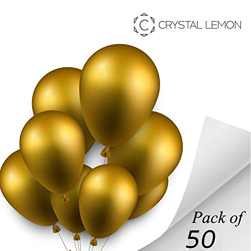 Pack of 50, 12 inches Metallic Gold Party Balloons, Balloons Bulk, Balloons for Birthdays(Gold)