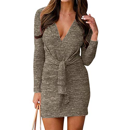 - CHLZYD Women Fashion Casual Solid Long Sleeve V-Neck Bandage Sexy Sashes Hip Dress (S, Khaki)