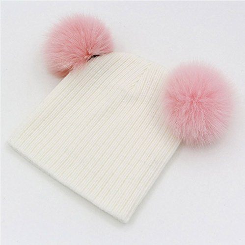 [New Cute Baby Girls Boys Beanie Cotton Hats With 2 Real Fox Fur Pompom Kids Beanies Knitted Baby Custome] (Old Ash Ketchum Costume)