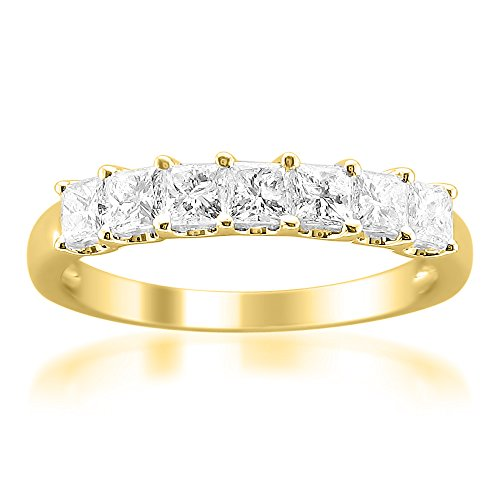 14k Yellow Gold Princess-Cut Diamond Wedding Band (1cttw, I-J Color, I1-I2 Clarity), Size 7