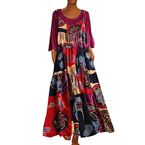 XGUMAOI_Dress Women's Floral Printed Long Sleeve Empire Waist Maxi Dresses(Cotton and Linen) Hot Pink
