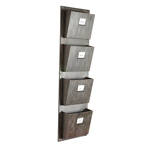 Pemberly Row 4 Slot Wall Mounted Mailbox in Rustic Gray