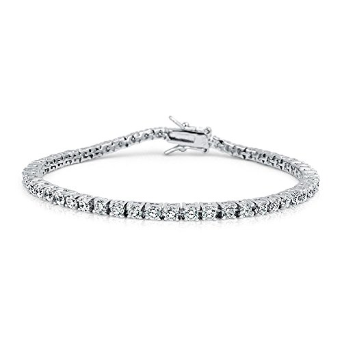 Men's White Gold Plated Solitaire Lab Diamond Tennis Bracelet - Diamond Mens Tennis Bracelet