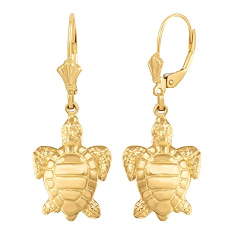 14k Yellow Gold Good Luck Sea Turtle Leverback Earrings ()