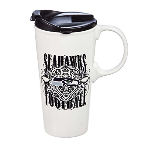 Team Sports America Seattle Seahawks Personalizable Ceramic Travel Coffee Mug, 17 Ounces, with Team Color Markers