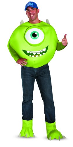 [Disguise Men's Disney Pixar Monsters University Mike Deluxe Costume, Green/White/Blue,] (Monsters Inc Costumes)