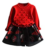 Toddler Kid Baby Girl Autumn Winter Plaid Knitted Sweater Dress Coat Tops and Skirt Set(Style E Red,Height 47.2-51.2 Inch)