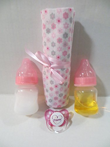 Small 2 Oz Heart Bottle - 2 Reborn Bottles with apx 2oz PINK Fake Milk + Fake Juice + Girl Blanket (Designs WILL Vary) + Heart Princess Pacifier + Putty + Instructions OOAK AGES 8 YEARS + THIS IS A PROP - NOT A TOY