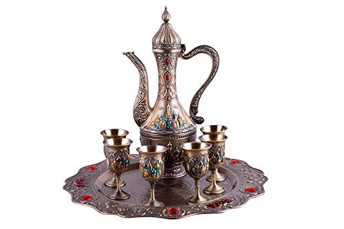 Eight-Piece Russian Vintage Retro Palace Style Wine Set/Coffee Set Goblet Spirit Pot With Tray(Bronze with colored - 8 Coffee Piece