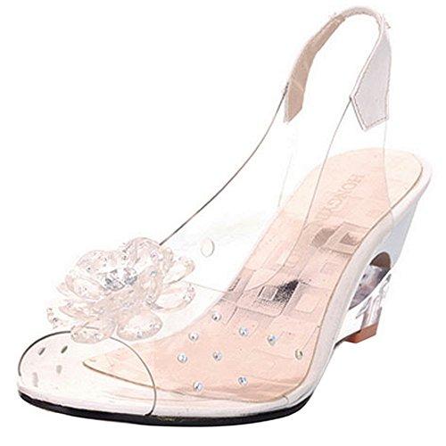 FANIMILA Mujer Moda Peep Toe Sin Cordones Sandalias Tacon de Cuna Transparent Zapatos Beige