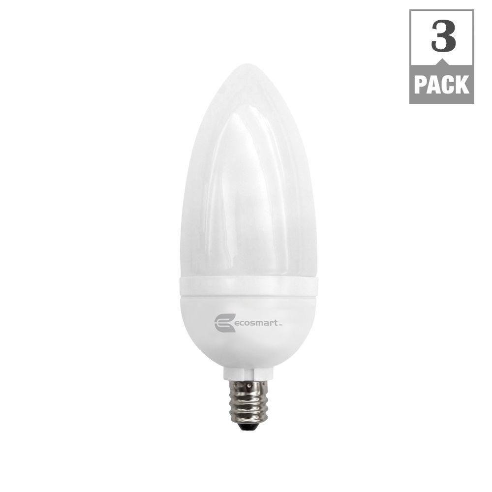 Ecosmart 40w equivalent soft white 2700k b10 candelabra cfl 3 ecosmart 40w equivalent soft white 2700k b10 candelabra cfl 3 pack amazon arubaitofo Image collections