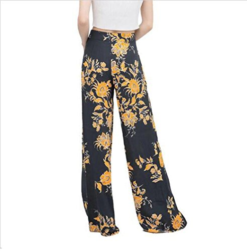 Kimloog Women Print Casual Flare Culottes Wide Leg Pants Fitness Palazzo Yoga Trousers (XL, Black)