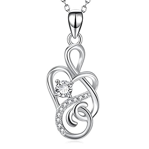 Sterling Silver Forever Love Infinity Heart Pendant Necklace for Women 18
