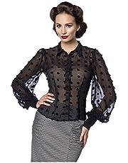 Belsira dames vintage blouse gestippeld M18