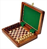 PEG WOODEN Travel Chess Set - 8'' x 6'' - by US Chess Federation
