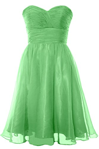MACloth 2017 Strapless Chiffon Short Bridesmaid Dress Cocktail Party Formal Gown Menta