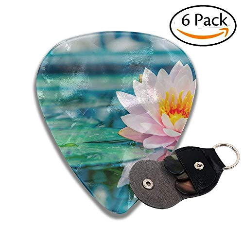 Guitar Picks Beautiful Water Plant With Reflection In A Pond Colorful Celluloid Guitar Picks Plectrums For Guitar Bass .46mm 6 Pack