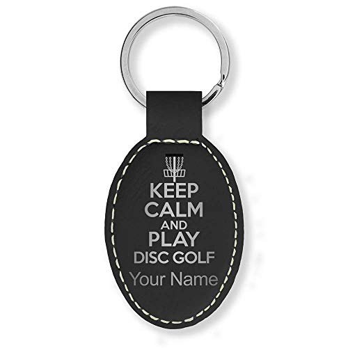 Oval Keychain, Keep Calm and Play Disc Golf, Personalized Engraving Included (Black with Silver) ()