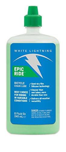 White Lightning Epic Ride All Conditions Light Bicycle Chain Lube, 8-Ounce Drip Squeeze Bottle (Lightning Lube)