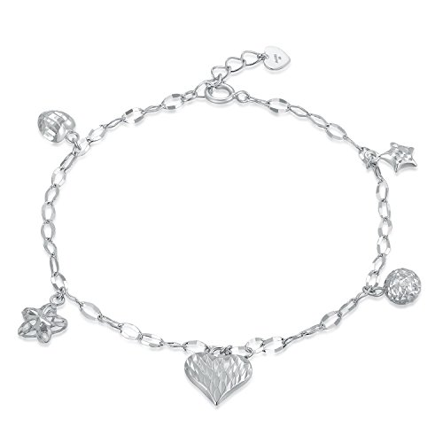 MaBelle 14K White Gold Diamond-Cut Heart, Star, Bead, Flower Charm Anchor Chain Bracelet (6.5