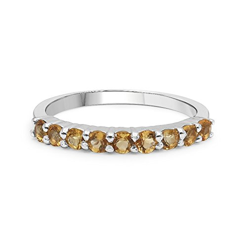 - Genuine Round Shape Citrine Multi Stone Ring Solid .925 Sterling Silver For Women Girls (Size-8)