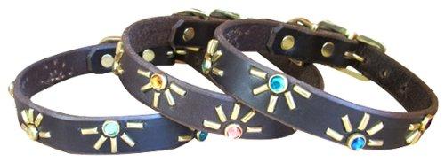 "Paco Collars - ""Tween Agnes"" - Handmade Leather Medium-Small Dog Collar- 3/4"" Wide - Brass - Black 14""-16"""