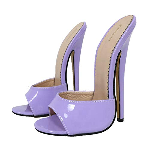 - Sorbern Slip On Summer Shoes High Heel 18cm Open Toe Slippers Women (8 M US, Violet Patent)