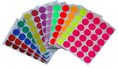 Colored Labels 1 inch in 13 Assorted Colors - Sticker Dots 25mm one inch - 312 Pack by Royal Green