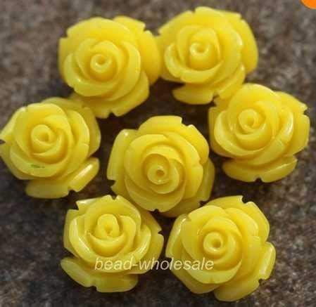 Calvas Wholesale 15mm 20pcs Gorgeous Rose Flower Coral Spacer Beads Red Blue White U Choose Color - (Color: Yellow)