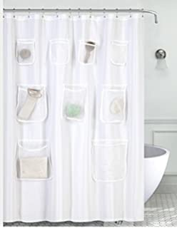 MrsAwesome Waterproof Mildew Resistant Fabric Shower Curtain Liner With Mesh Pockets 70X72 White