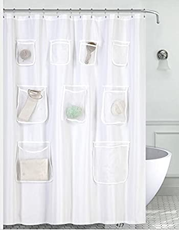 Mrs.Awesome Waterproof Mildew Resistant Fabric Shower Curtain Liner With  Mesh Pockets 70X72 White