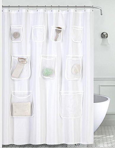 Mrs Awesome Water-Repellent Fabric Shower Curtain or Liner with 9 Handy Mesh Pockets 70 x 72 inches, White, Odorless, Washable and Rust Proof Grommets