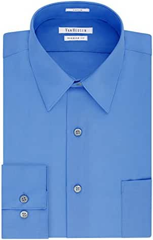Van Heusen Men's Poplin Regular Fit Solid Point Collar Dress Shirt
