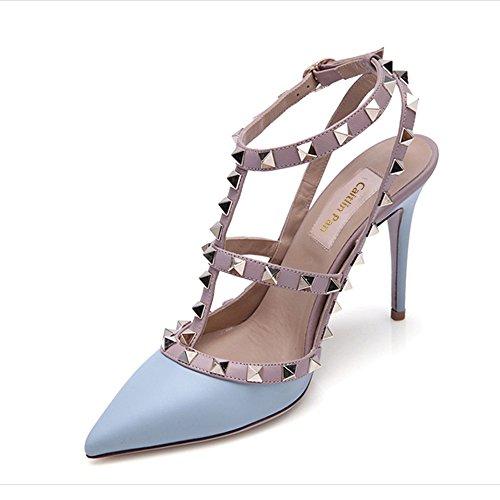 Robe Talon Pointu Haute Caitlin 35 Matte Parti Goujons Stiletto Bout Sangles 45 Blue Mode Cheville UE Cour Pan Cloutées Sandales Chaussures Formelle Femmes tYYOw