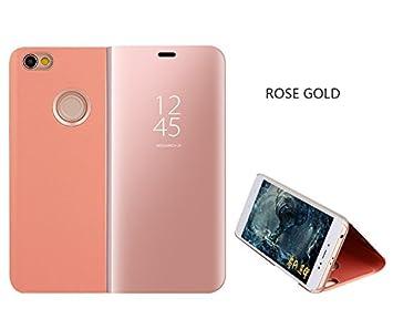 Xiaomi Mi A1 Espejo Funda de Espejo Flip Case, Espejo Reflexión Brillante Ultra Fino Duro Anti-Scratch de para Xiaomi Mi A1(Oro Rosa)