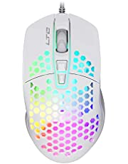 LTC Circle Pit HM-001 RGB Gaming Mouse with Lightweight Honeycomb Shell, Adjusted 6400DPI, 6 Programmable Buttons, White