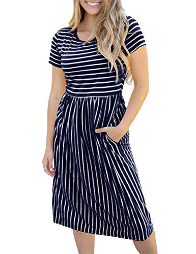 MEROKEETY Women's Summer Striped Short Sleeves High Waist Casual T Shirt Midi Dress ()