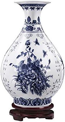 ufengke Blue and White Porcelain Vase,Blue Couple Birds Ceramic Vase,Handmade Decorative Vase,Height 8.66