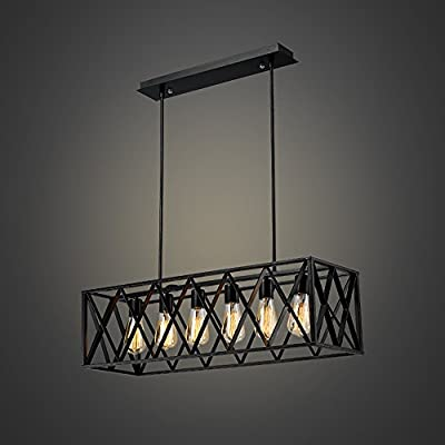 EFINEHOME Efine Vintage Industrial 6 Lights Edison Retro Rustic Wrought Iron Black Chandelier Rectangle Island Light Fixtures Max 360w NO Glass