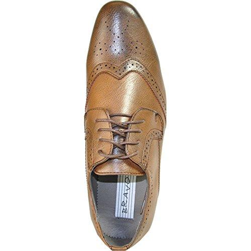 Bravo Heren Kledingschoenen Klein-4 Oxford Fashion Wing Tip Met Puntteen Bruin