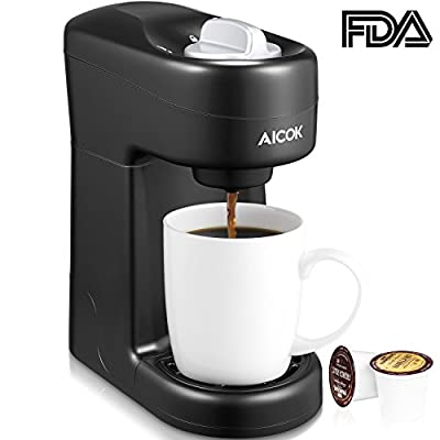 Single Serve Coffee Maker, Aicok Single Cup Travel Coffee Brewer with One-Touch Buttons for Most Single Cup Pods including K-CUP Pods, Quick Brew Technology, 800W, Black