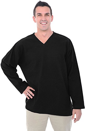 Alexander Del Rossa Mens Cotton Shirt, Long Sleeve V-neck Top, XL Black (A0251BLKXL)