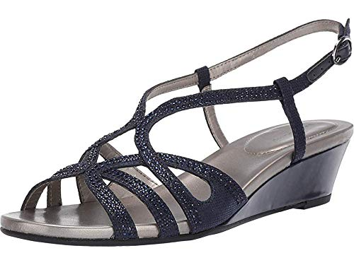 - Bandolino Womens Gyala Wedge Sandal Navy 8 M